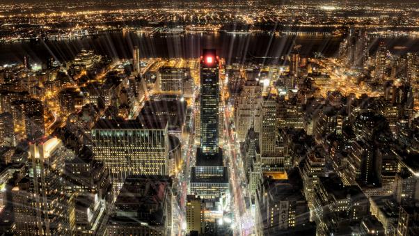 Постер (плакат) Яркая ночь в Нью-Йорке