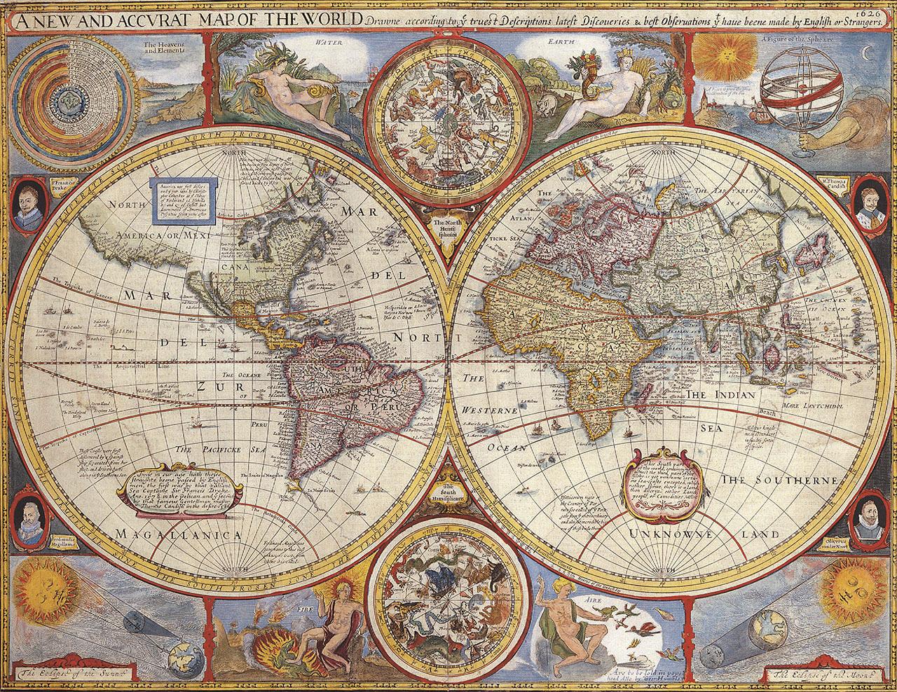 Постер на подрамнике Карта мира 1626 года