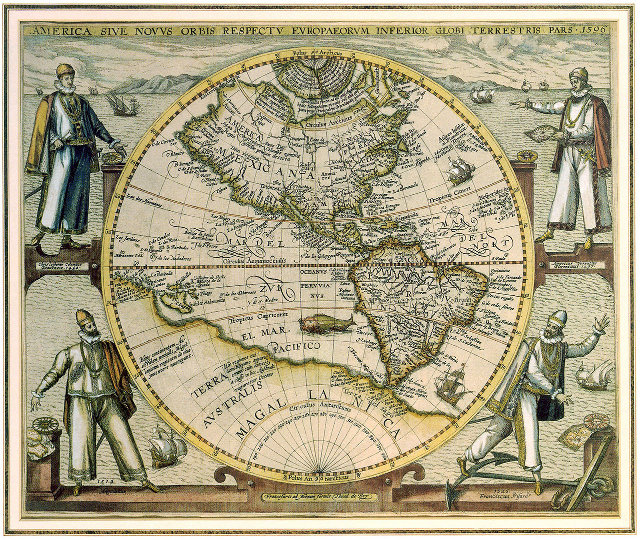 Постер на подрамнике Старая карта с рисунками