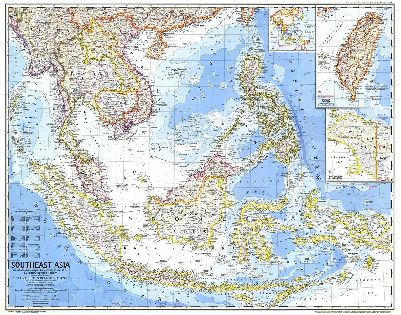 Постер на подрамнике Карта Юго-Восточной Азии