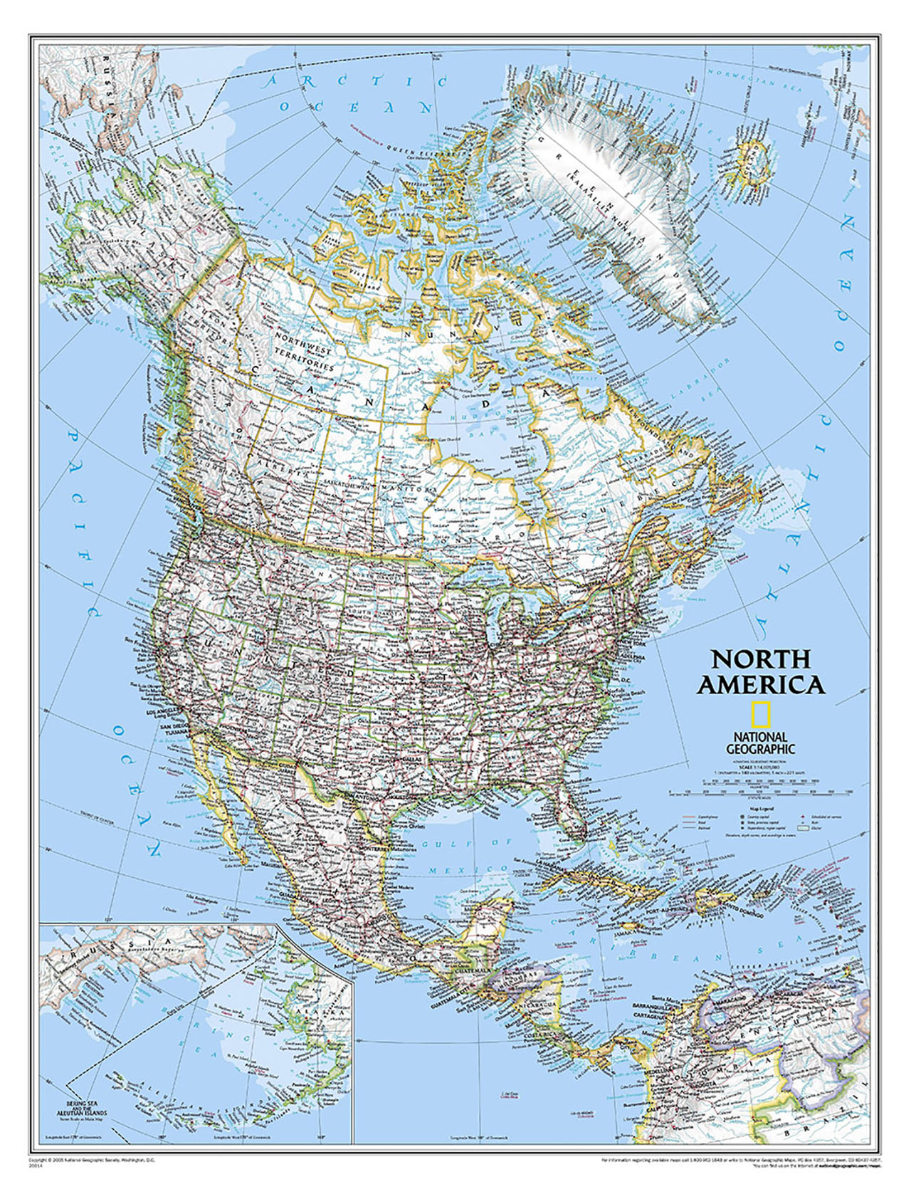 Постер на подрамнике Карта Северной Америки