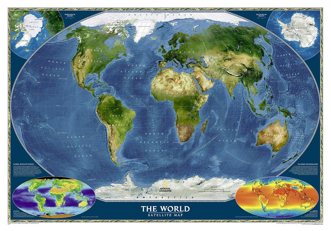 Постер на подрамнике Карта мира со спутника