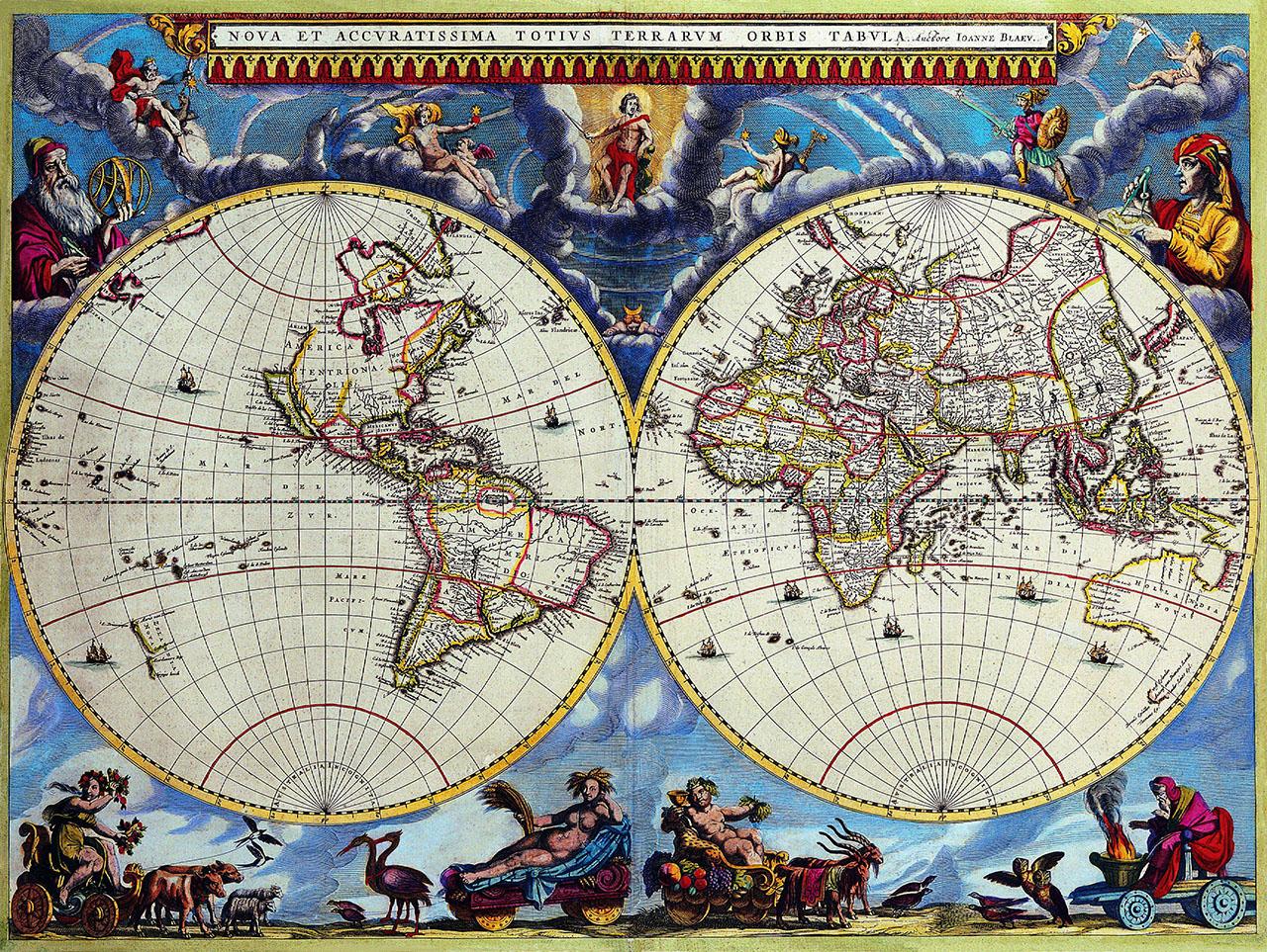 Плакат Карта мира под старину
