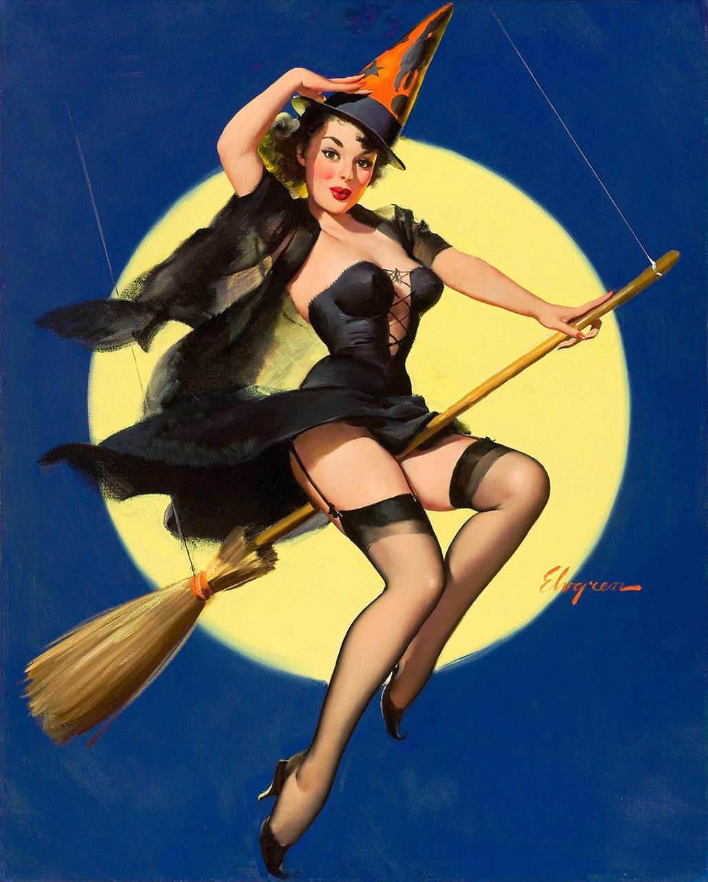 Постер на подрамнике Джил Элвгрен: Девушка на метле