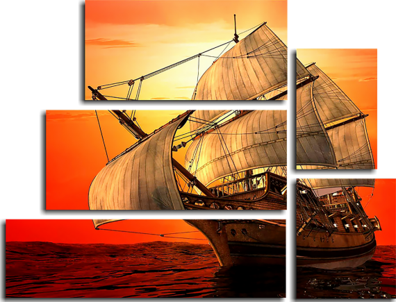 Модульная картина Парусник на закате