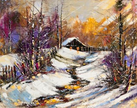 Постер на подрамнике Зимняя тропинка к дому