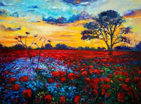 Постер на подрамнике Маковое поле на закате