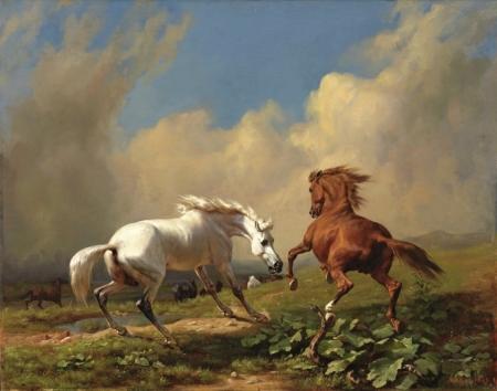 Постер (плакат) Два коня и змея, встреча в степи.