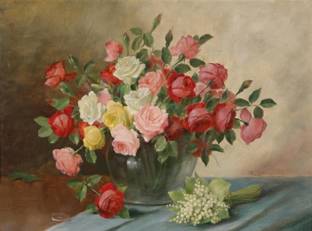 Постер на подрамнике Цветы в вазе на столе