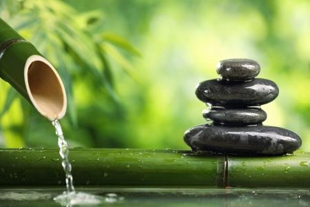 Постер на подрамнике Камни, вода, бамбук