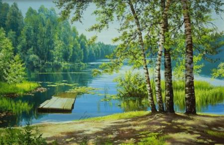 Постер на подрамнике Лес и река