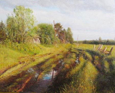 Плакат Дорога с лужами в Сосновке. Матвеев  М.Г.