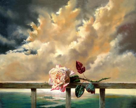 Постер на подрамнике Роза на фоне облаков