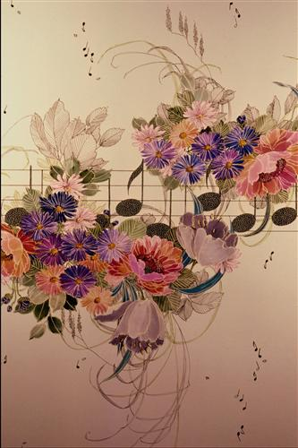 Постер на подрамнике Цветы и ноты