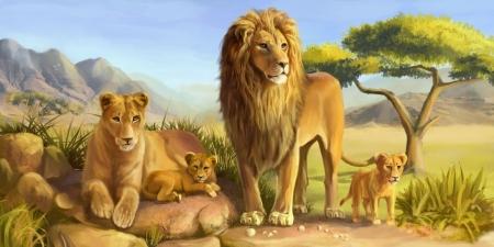 Постер на подрамнике Львы