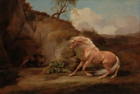 Постер на подрамнике Лев и лошадь