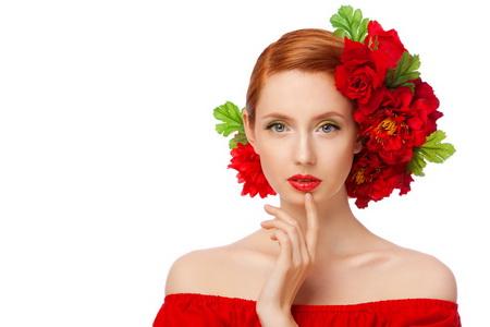 Постер на подрамнике Рыжая девушка в красном