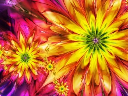 Постер на подрамнике Абстракция. Желтые цветы