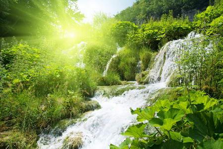 Постер на подрамнике Водопад в лесу под солнцем