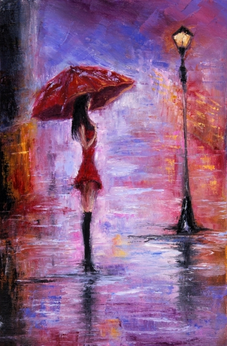 Модульная картина Одна под дождем