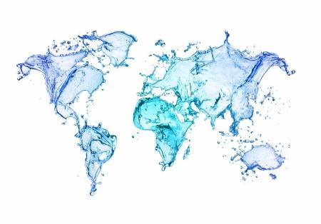 Плакат Карта мира из воды