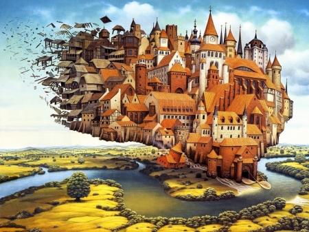 Модульная картина Мир Яцека Йерки (Jacek Yerka)