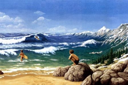 Постер на подрамнике Иллюзия. Горы из моря