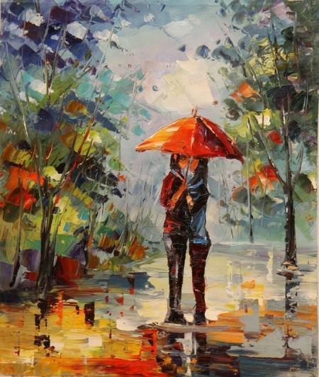 Постер на подрамнике Двое под зонтом