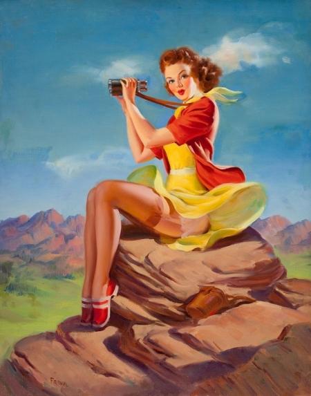 Постер на подрамнике Девушка с биноклем. Пин-ап