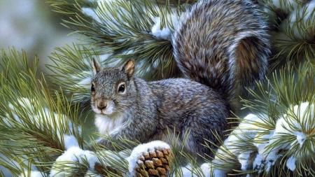 Постер (плакат) Белочка на елке