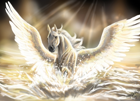 Постер на подрамнике Шикарный Пегас с расправленными крыльями