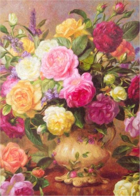 Постер на подрамнике Пионы и розы в вазе