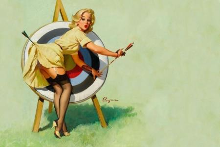 Плакат Блондинка и мишень. Пин-ап