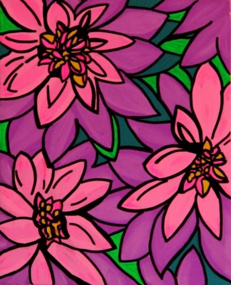 Постер на подрамнике Цветы. Поп-арт