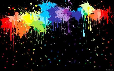 Постер Буйство красок на черном фоне