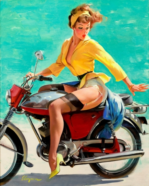 Постер (плакат) Девушка на байке