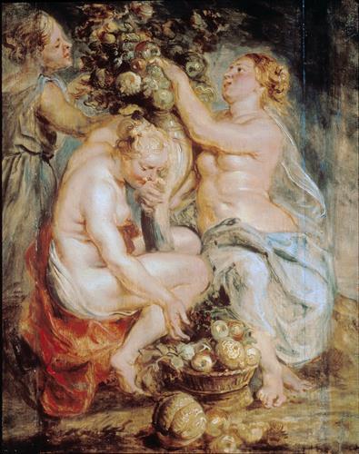 Постер на подрамнике Ceres and Two Nymphs with a Cornucopia