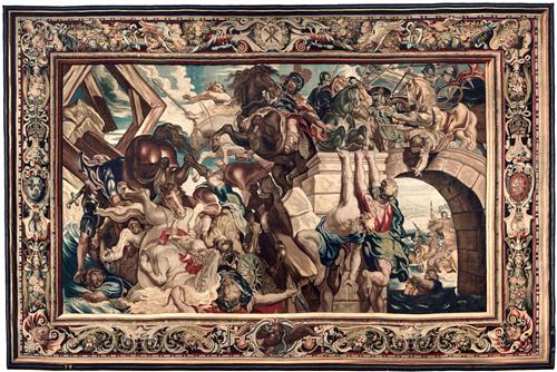 Плакат Tapestry showing the Triumph of Constantine over Maxentius at the Battle of the Milvian Bridge