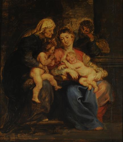 Плакат The Holy Family with St. Elizabeth and St. John