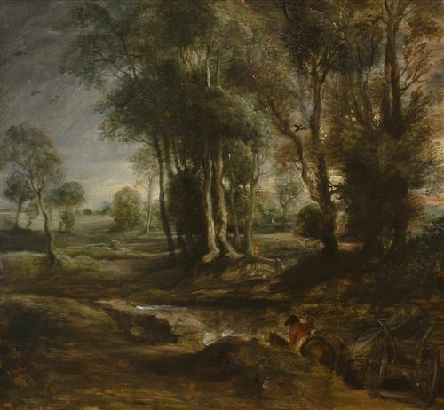 Плакат Evening Landscape with Timber Wagon
