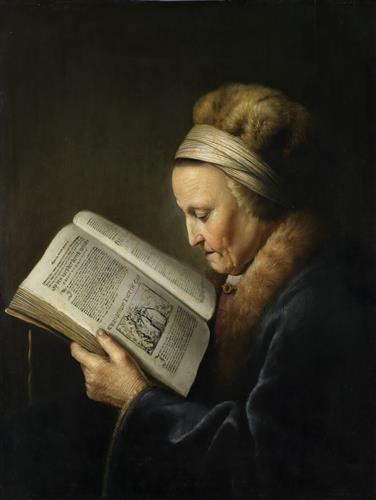 Постер на подрамнике Oude vrouw lezend in een lectionarium