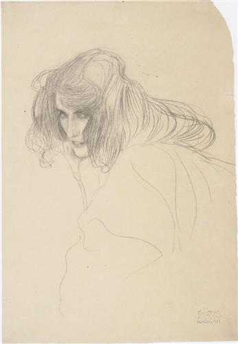 Плакат Study of a womans head in Drieviertelprofil (Study for adultery in the Beethoven frieze) 1902