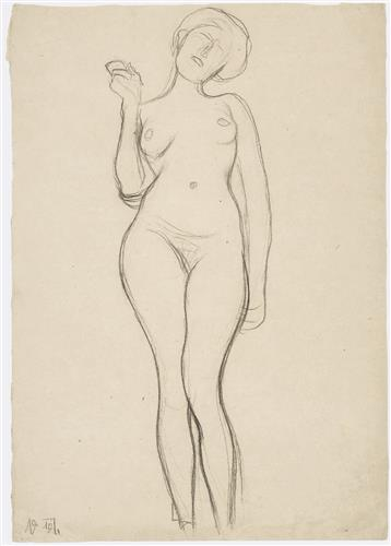 Постер на подрамнике Standing female nude from the front with a raised right arm