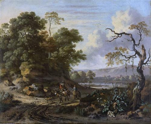 Постер на подрамнике Landschap met ezelrijder