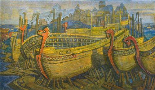 Плакат Ладьи город строят