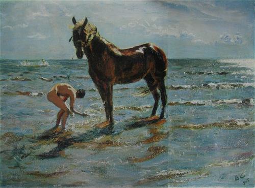 Плакат Купание коня