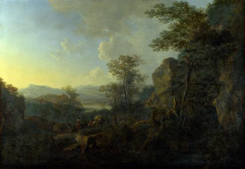 Плакат Скалистый пейзаж с крестьянами и гружёными мулами