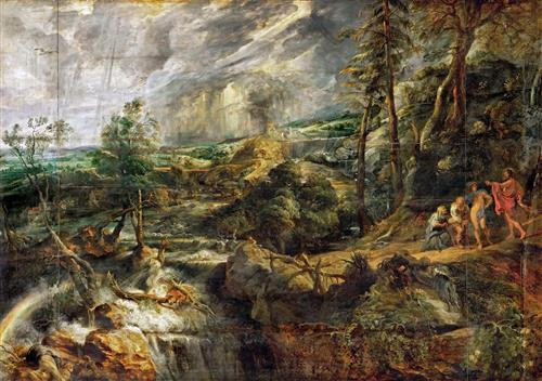 Плакат Stormy Landscape with Philemon and Baucis