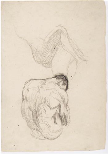 Плакат Detailstudie eines sich umarmenden Paares, sitzender mannlicher Ruckenakt