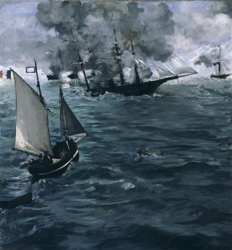 Постер на подрамнике Battle of the Kearsarge and the Alabama